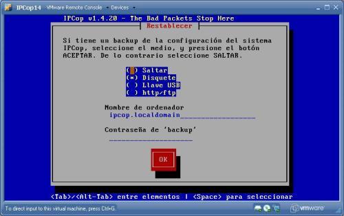 En la instalación te da la opción de restaurar un backup de la configuración de otro ipcop